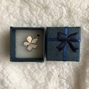 Sterling Silver Lab White Opal Flower Pendant